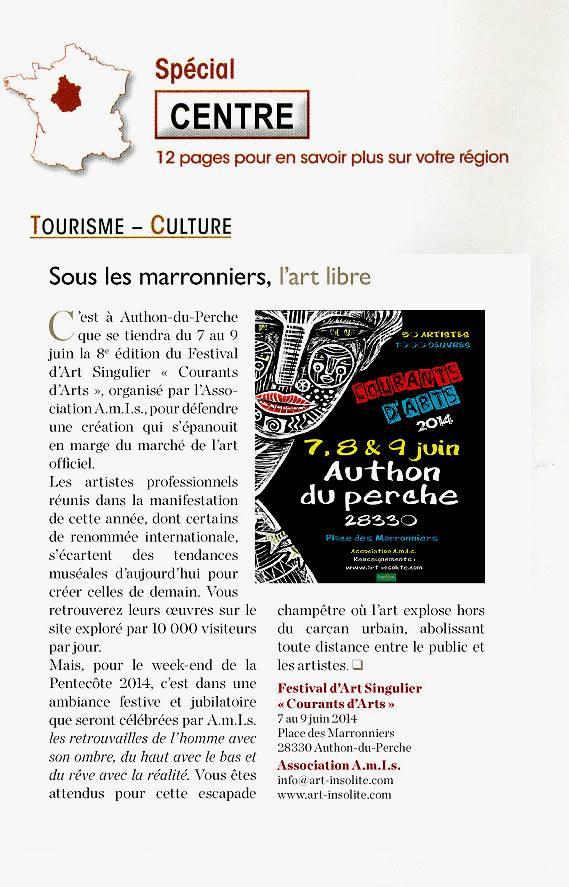 Article du Nouvel Observateur - Supplément Région Centre - Festival courants d'Arts
