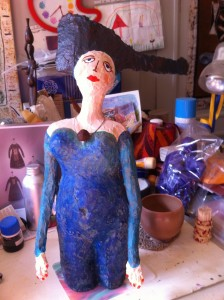 Sculptures, Poupées, papier mâché, bleu, atelier