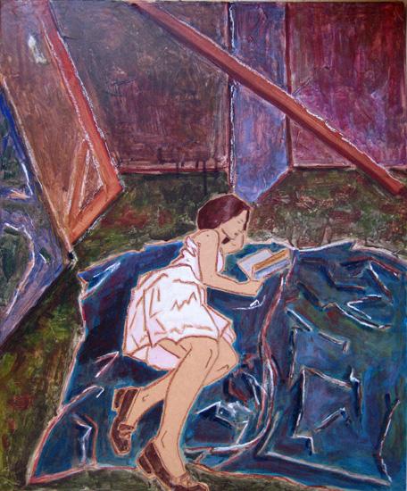 Poésie - Peinture - Femme qui lit - Virginie IV fond bleu