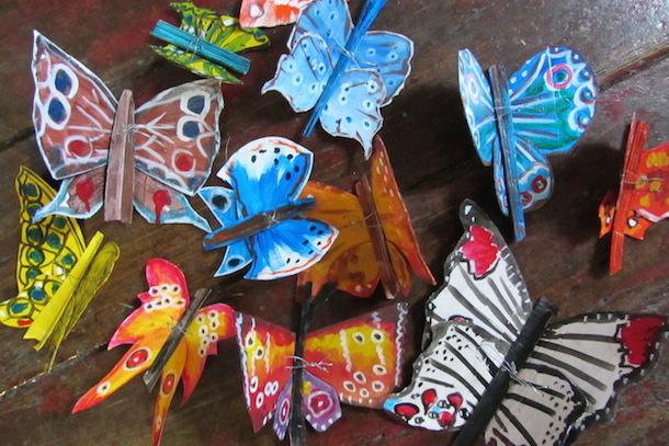Papillons - Sculptures - Papier mâché - Multicolor