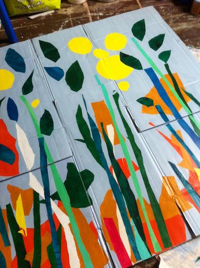Buisson - Paravent - peinture sur carton - nature